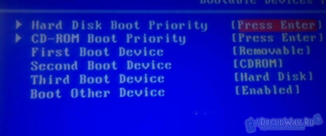 Выбираем тип установки в BIOS