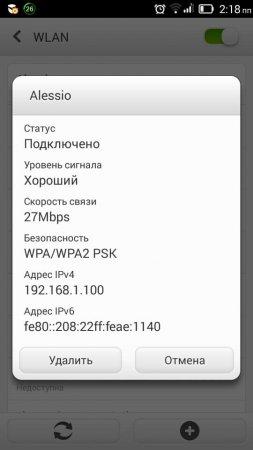 Параметры точки доступ WiFi
