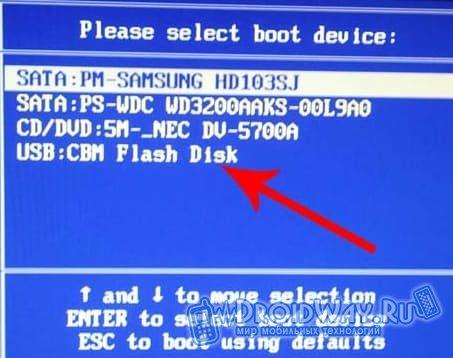Выбираем USB Flash Disk