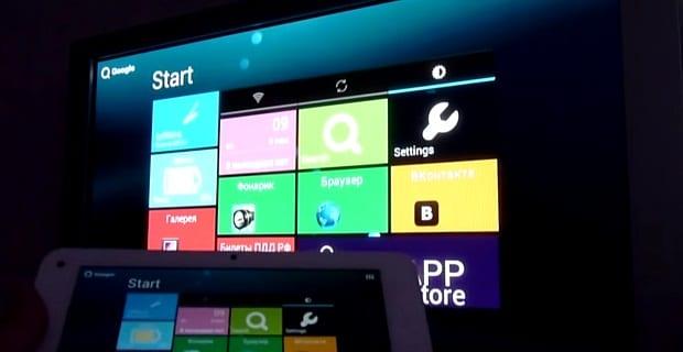 Рабочий экран планшета на телевизоре