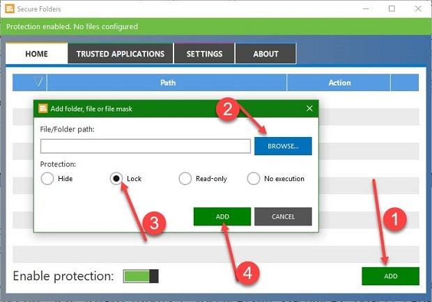 Интерфейс Secure Folders