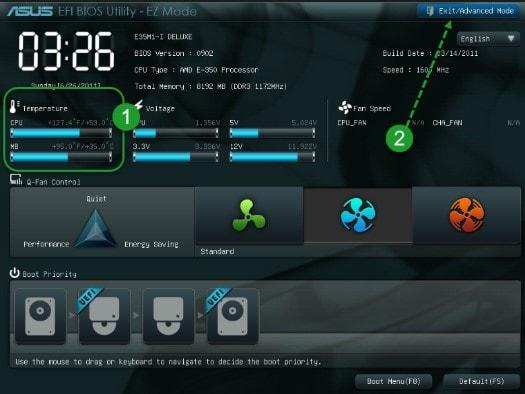 показания с датчиков в интерфейсе BIOS